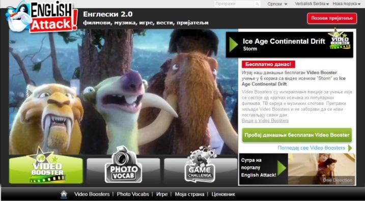 Online ucenje engleskog jezika, film Ice Age