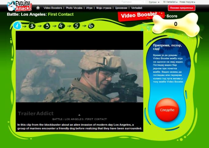 Filmski hitovi za ucenje engleskog jezika, Video Booster Battle