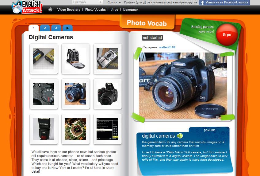 Engleski recnik u slikama za digitalne kamere, Verbalisti