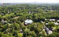 An aerial view of the Pine Manor campus in Boston
