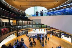 The interior of the new Library of Birmingham, England