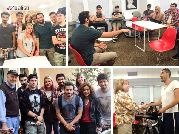 Verbalisti English language learning students in Los Angeles enjoy visits from Hollywood actors