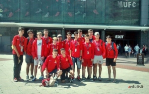 """Na stadionu Old Trafford  Excursion programme - """"We use excursions as outdoor classrooms. For example, last year, our teachers took a central role in the Wembley excursion. We see excursions as an excellent way in which to put learning into practice, not by just taking students on a guided tour, but by involving and engaging them. By working in small groups teachers are able to stimulate debate and discussion between the students before, during and after the excursion. """" – David Pepper"""