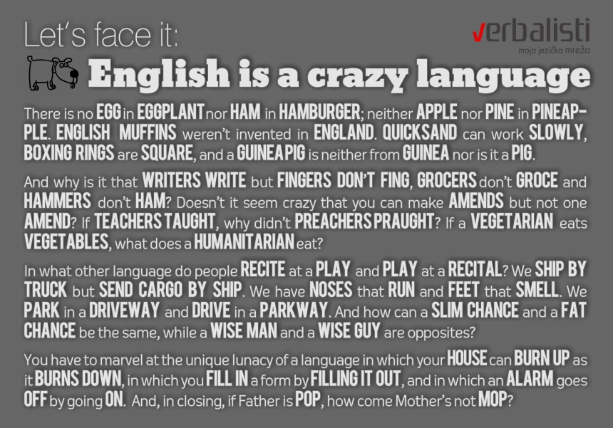 English is a crazy language, Verbalisti